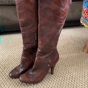Nine West Brown Leather Knee-high Boots